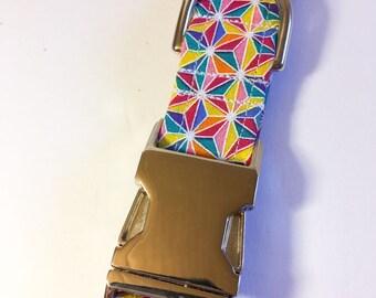 Rainbow Triangles Dog Collar