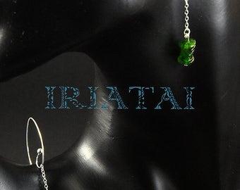 Natural Tsavorite garnet and sterling silver earrings