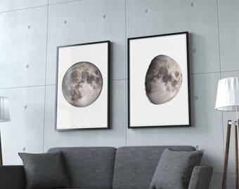 Moon Phases Photograph Wall Art Fine Art Poster Prints, Set of 5 Lunar Phases Moon Art Print Gift Home Decor Office Decor Housewarming