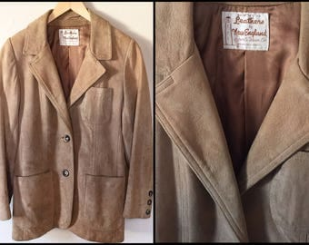 1970's Tan Suede Leather Blazer Jacket