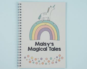 Unicorn Custom Notebook for Kids | Personalised Childrens Notepad | Ideal Gift for Kids | Cute Rainbow Notebook | Unique Stationery Gift