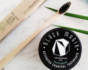 SET: Charcoal TOOTHPASTE + Eco TOOTHBRUSH - Activated Charcoal / Natural Teeth Whitening / Eco / Vegan / Organic / Natural Toothpaste /