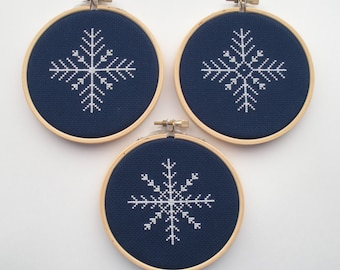 Snowflake Christmas Ornament PDF Cross Stitch Pattern - Set Of 3 -  Instant Download - Printable Pattern