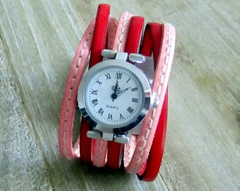 Shows cuff leather red/pink with Couture, Silver Dial, clasp plate 30MM loving money