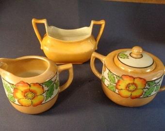 Hand Painted Vintage Art Nouveau  Lusterware Creamer, Lidded Sugar Bowl Set Marked Japan With Z.S & Co Bavaria Art Deco Pearlized Sugar Bowl