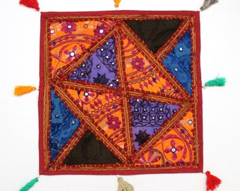 Handmade Hippie Gypsy Home Decor Ethnic Multi color Embroidered Hippy Patchwork Bohemian Pillow Shams Couch Cushion Cover Case G826