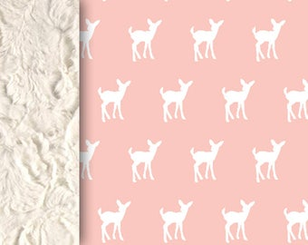 Baby minky blanket, deer blanket, dust pink blanket, woodland blanket, girl bedding, throw blanket, fawn blanket, baby shower gift, birth