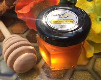 1.5oz Hexagon Wedding & Party Favor Glass Honey Jar Filled with 100% Raw Honey