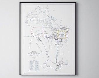 Los Angeles, Los Angeles Map, Map Los Angeles, Los Angeles Art, LA Art, LA, Los Angeles Print, City Blueprint, Los Angeles Blueprint, 134