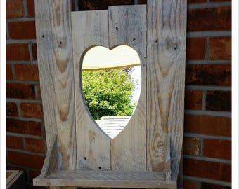 Handmade Rustic Mirror with shelf detail