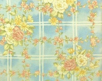 Floral cotton fabric - cream and dusty rose colored flowers on soft blue background with white lattice- 2-5/8 yards