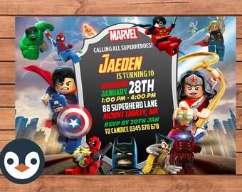 Superhero Lego Invitation. Superhero Birthday Party. Lego Birthday Party. Party Supplies. Baby Shower.