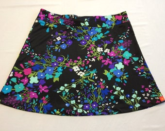 Bright Floral Light Weight Silky Skirt for Beach, Cruise or Office Hidden Adjustable Tie Comfortable A-Line Cut Skims over Hips