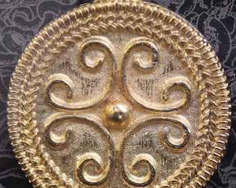 Roman Filigree Scroll Pendant - Gold Plated with information card [RFSPG]