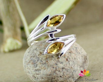 citrine ring, citrine silver ring, citrine gemstone, citrine jewelry, engagement ring, promise ring, 925 solid silver,ETR1117