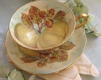SOLD Hammersley Orchard Fruit, Artist Signed, Teacup and Saucer, Apples, Nuts, Yellows, Greens, Browns, Bone China, Made in England, 1940's.