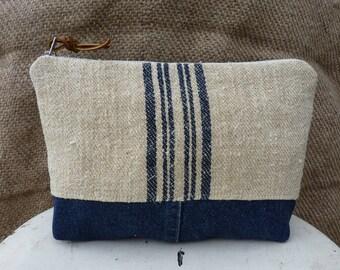 Antique Grain Sack Pouch