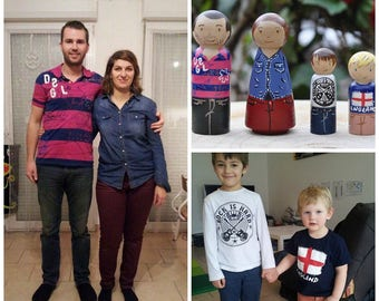 Peg dolls - your family in peg dolls-toys-personalized family (2 adults 2 children) family