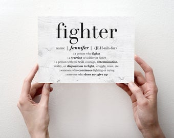Fighter Custom Name Greeting Card, Encouragement Card, Personalized Friend Gift, Motivational Quote, Girl Boss Gift, Fighter GREETING CARD