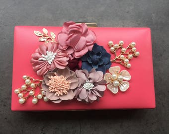 Flower clutch bag, Bridesmaid bag, pearl clutch, multiway clutch, bridal bag, flower bag, bridal clutch, Floral bag, pink clutch, wedding