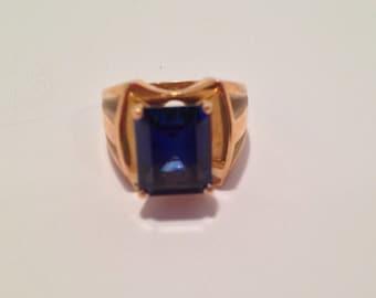 Midnight Blue Sapphire 10k yellow gold band ring-sz