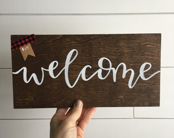 Welcome sign | hand painted sign | handlettered | wood sign | home decor