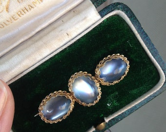 RESERVED for Rachel, Do not buy: Vintage Antique Victorian Moonstone Gold Gilt Brooch Pin-Original Box