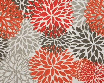 Outdoor Blooms Salmon Floral, Polyester, Fabric by the Yard