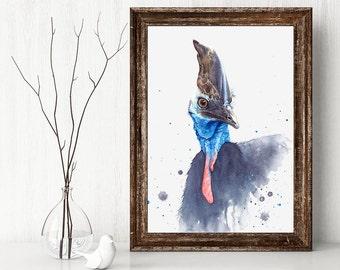 Cassowary, Australian wildlife, bird wall art, watercolour print