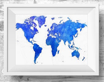 World map canvas colourful watercolour map world map artwork blue world map canvas watercolour printable wall art large world map art worldmap sciox Gallery