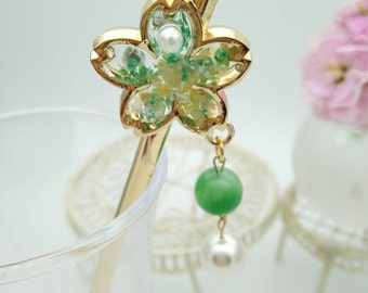 Hair stick,Cherry Blossoms Hair stick,Sakura Japanese Kazashi,Green Hair stick,with swarovski pearl,Bridal Jewelry,Bridesmaid Gift