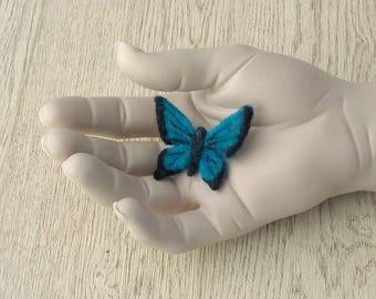 Butterfly felt brooch. Bright blue and black needlefelt pin.