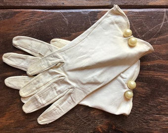 Vintage Leather Gloves, Vintage Pearl Leather Gloves, Vintage White Leather Gloves, Leather Gloves, Vintage Gloves