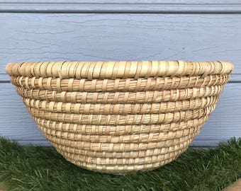 Large Vintage Bread Basket, Vintage Handmade Basket, Vintage Basket Woven Bowl, Vintage Bowl, Vintage Woven Bowl, Boho Decor, Vintage Boho B