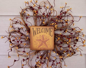 """Welcome Barn Star Primitive Country 12"""" wreath with pip berries burgundy~red mustard"""