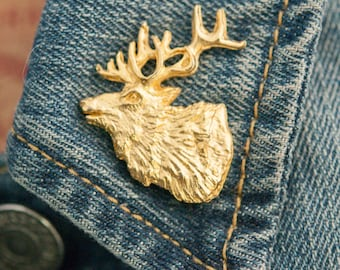 Vintage Gold Tone Stag Pin | Brooch (stock# 551)