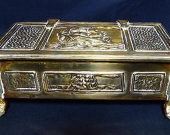 Vintage Art Nouveau Brass Ship Design Cigarette Box - C.1910s