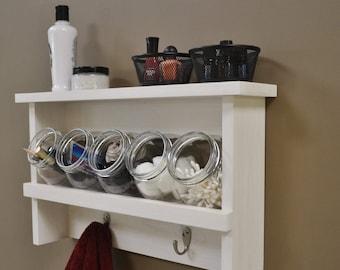 rustic shelf with glass jars bathroom organizer farmhouse decor wood shelves rustic bathroom shelf rustic decor