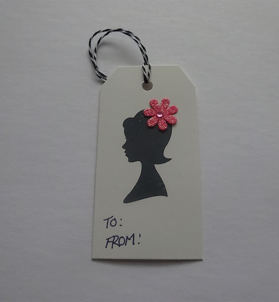Luxury Handmade Gift Tags - Cream Tag with Girl and Flower - 2B