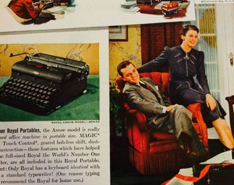 Christmas Ad Royal Portable Typewriter 1940s • RCA Victor Personal Radio Ad • Royal Quiet De Luxe, Secretary, Family, Holiday, Writers Gift