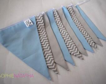 Nursery Bunting Baby Blue and Grey Handmade Fabric Bunting - 10 Flags, 2 M - Baby Blue, Grey and Grey Chevron Fabric