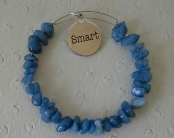"""Blue Quartzite Bracelet with """"SMART"""" charm"""