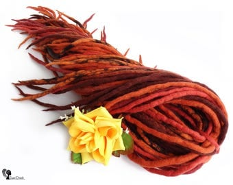 "Full Set Wool Dreadlocks Dreads "" Fiery Flamenco "" Double Ended"