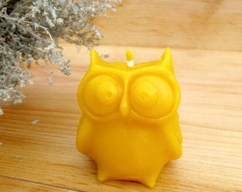 Owl Candle - 100% Beeswax Candle