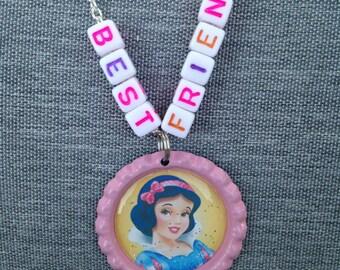 Snow White bottle cap best friend necklace