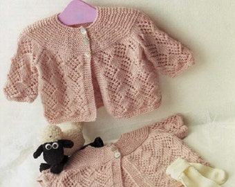 Knitting Pattern Cardigan with long or short sleeves.  DK baby knitting pattern , BHKC 43
