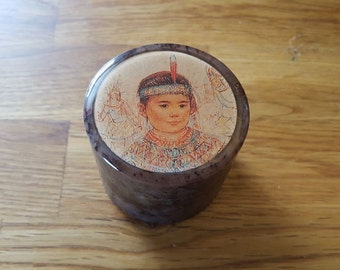 Native American girl marble ring box
