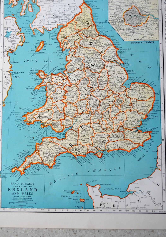 Vintage england map antique 1941 atlas map scotland on reverse details 1941 colliers world atlas map gumiabroncs Choice Image