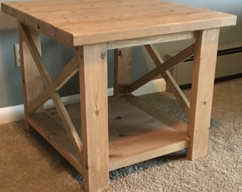 Wood X End Table, Side Table