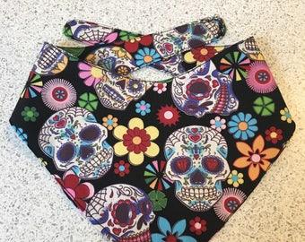 Sugar skull / colourful skull dog puppy bandana neckwear fashion clothing
